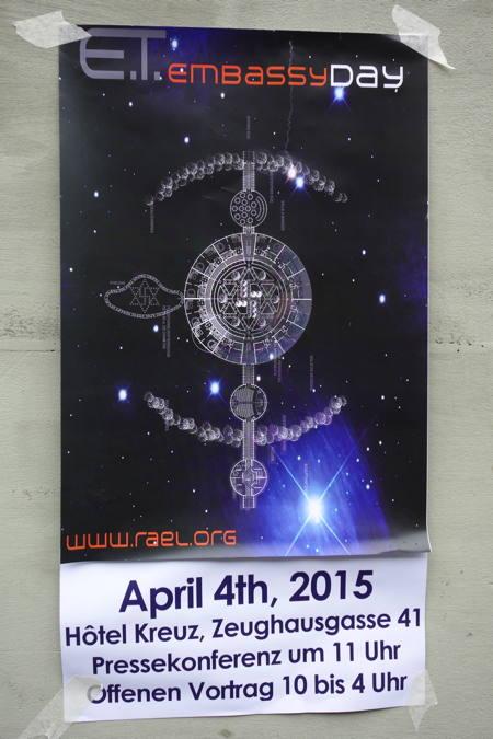 — Affiche Raélienne — 4 Avril: Jour de l'Ambassade des ETs — Berne —