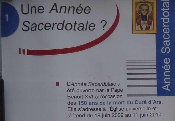 — Annonce Année sacerdotale — Basilique d'Ars/sur/Formans —