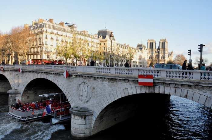 — Cathédrale Notre-Dame de Paris et Pont Napoléon III vus depuis les quais St Michel - Paris —