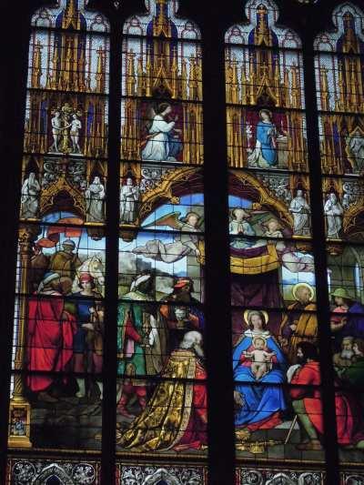 — Visite des mages - Détail d'un vitrail - cathédrale - Cologne —