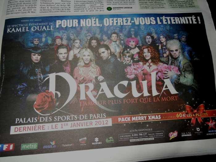 — Publicité Dracula sur une page de quotidien - Paris —