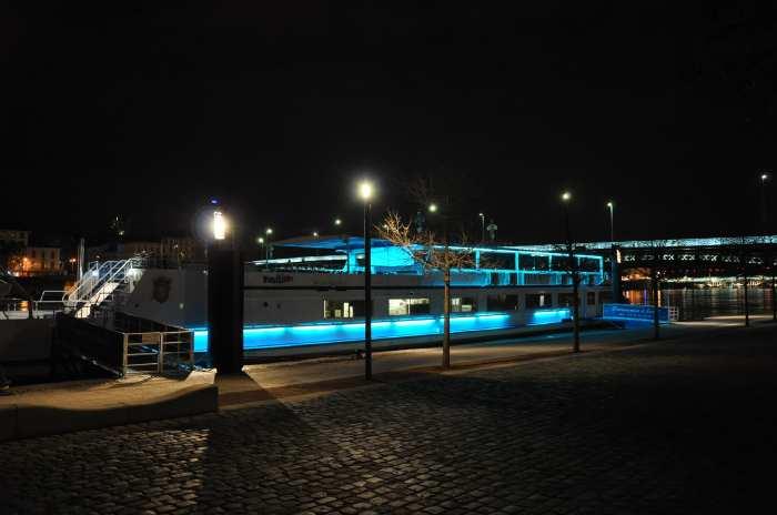 — L'Hermès amarré sur les quais du Rhône - Fête des Lumières - Lyon —