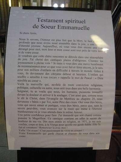 Copie du testament spirituel de soeur Emmanuelle