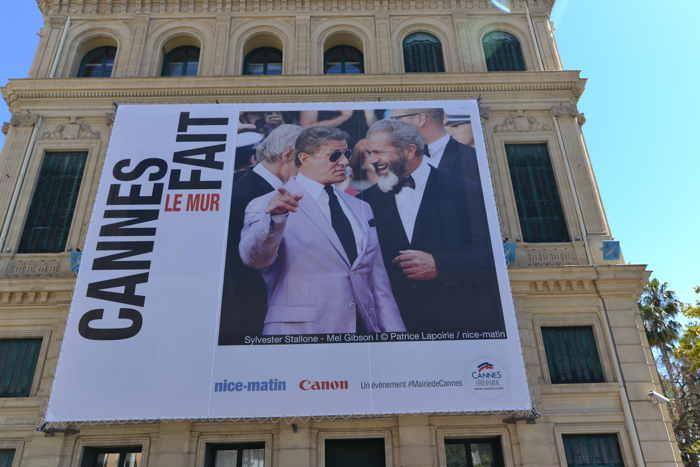 Affiches Cannes fait le mur — Sylvester Stallone et Mel Gibson — Cannes