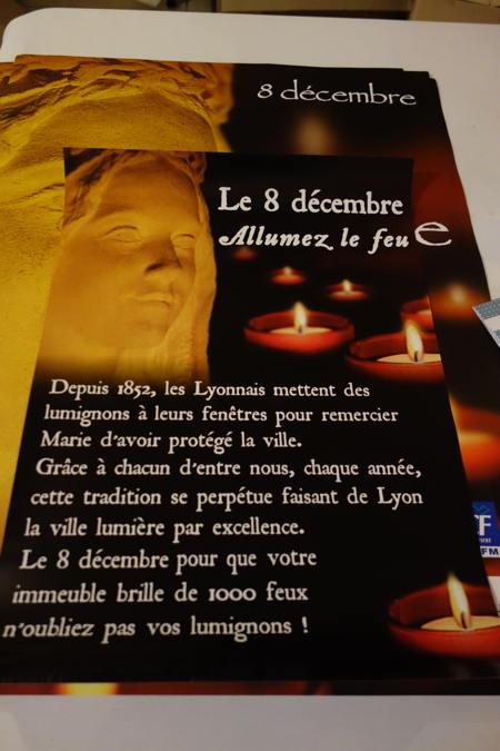 — Affiche Merci Marie — Fête des Lumières — Lyon —