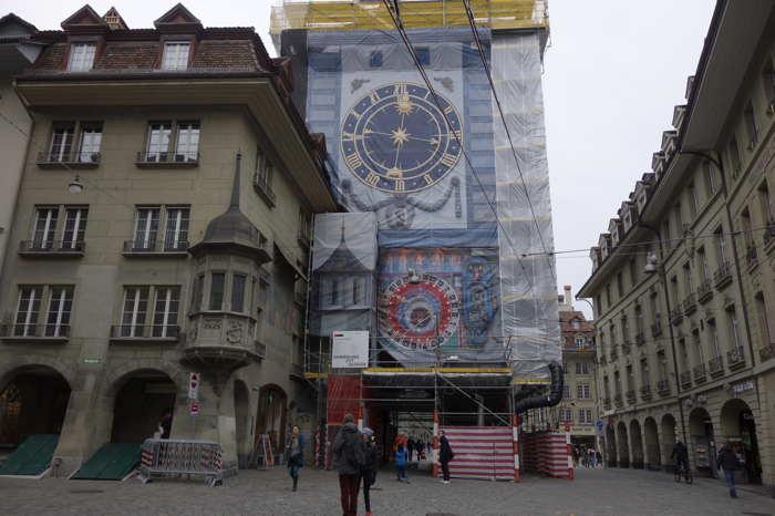 Tour de l'horloge en cours de restauration — Bern/Berne