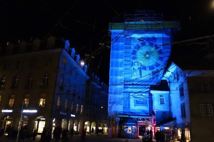 Tour de l'horloge en cours de restauration — Nuit des musées — Bern/Berne