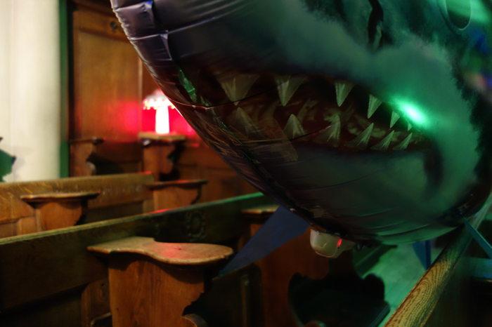 Requin volant au repos sur fond d'UFO - Eglise du Saint-Esprit — Nuit des musées — Bern/Berne