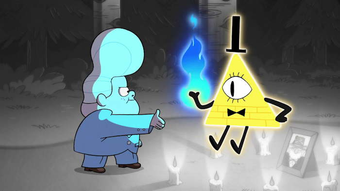 Bill Cipher, invoqué par Gideon sur point d'envahir l'esprit de Stan