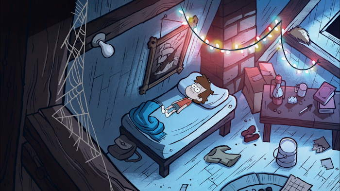 "Dipper en repos sur son lit  Capture d'écran: série ""Gravity Falls"" sur Disney channel 411"