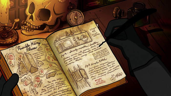"""places où se cacher""  Capture d'écran: série ""Gravity Falls"" sur Disney channel 411"