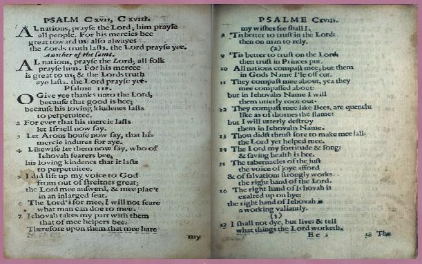 """Bay Psalm Book"" - Psaumes 117-118"