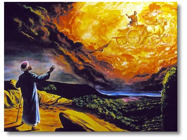 Départ d'Elie sur son char en présence d'Elisée