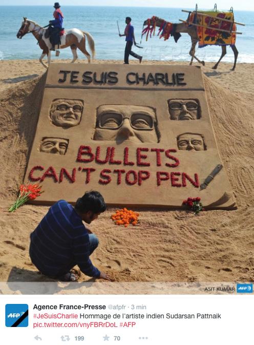 Sculpture de sable Charlie Hebdo