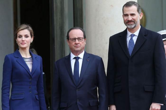 Le roi d'Espagne Felipe VI, la reine Letizia et F. Hollande