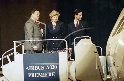 Le Prince Charles et la Princesse Diana au baptême de l'Airbus A320
