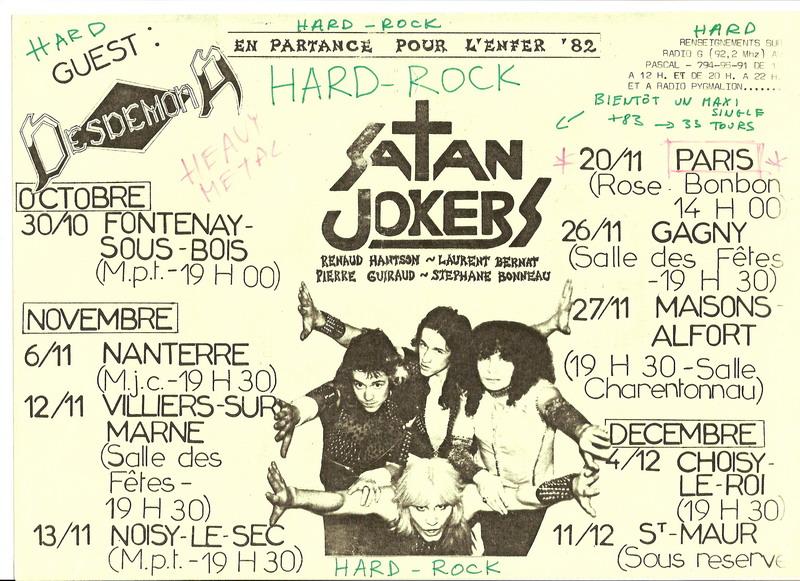 """Concerts du groupe """"Satan Jokers"""" en 1982"""