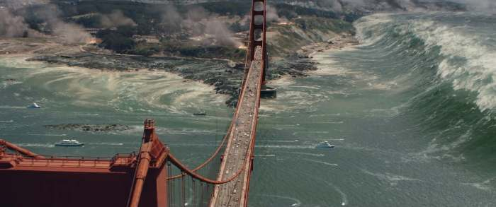 "Capture d'écran du Golden Gate à San Francisco dans le film ""San Andreas"""
