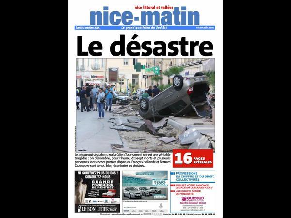 La une de Nice-Matin du lundi 5 octobre 2015
