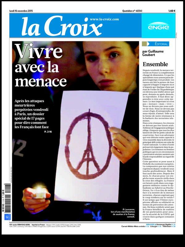 """""""La Croix"""" du 16 Novembre 2015"""