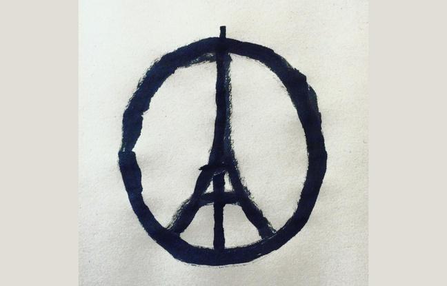 Ce dessin «Peace for Paris» a été réalisé après les attentats du 13 novembre 2015 par l'artiste français Jean Jullien