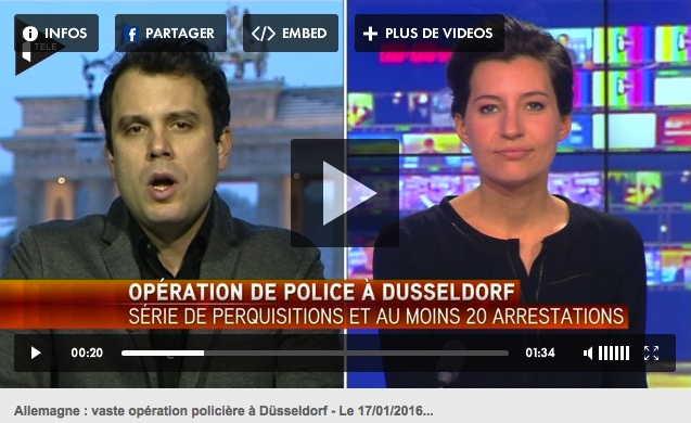 Agressions de Düsseldorf: Capture d'écran Canal+ du 17/01/2015