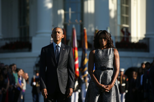 Minute de silence en mémoire du 9/11  President Barack Obama et Michelle Obama à la Maison Blanche à Washington. Vendredi 11 Septembre 2015