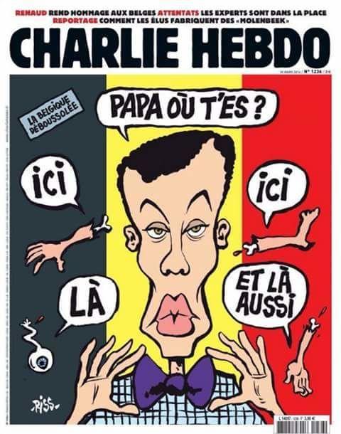 Charlie Hebdo, sur fond de drapeau Belge
