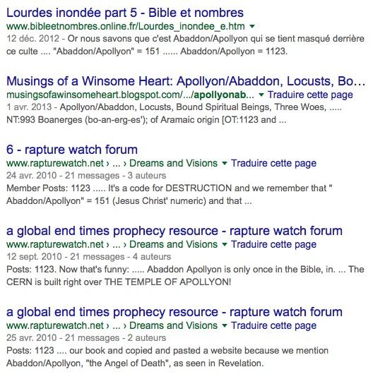 """Capture d'écran: Google: requête """"Apollyon+abaddon+1123"""""""