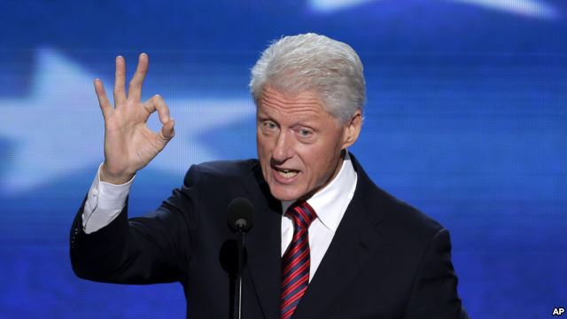 Bill Clinton flashant le signal digital 666