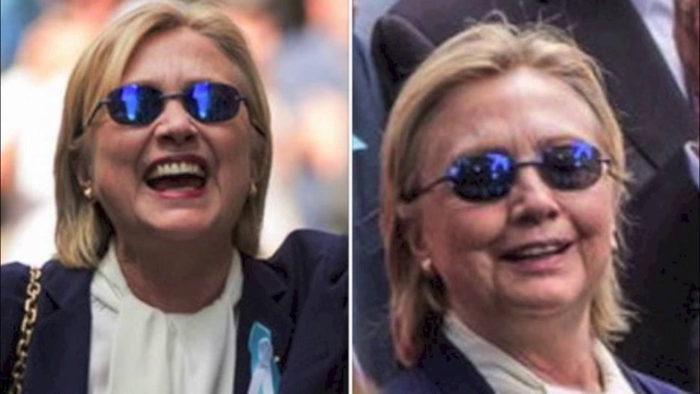 A gauche, Hillary Clinton 90 minutes après le cliché de droite