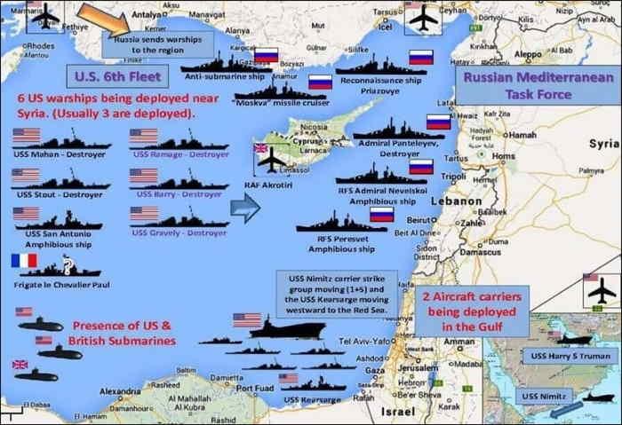 """Navires de guerre US/Russie déployés pour """"régler"""" le problème de la Syrie  ou préparation d'une IIIe guerre mondiale"""