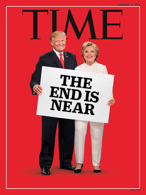 Photo-montage Time trump/Clinton