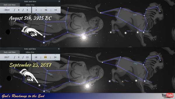 Configurations célestes du 5 Août de l'An -3915 avant J-C et du 23 Septembre 2017