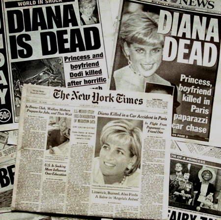 Annonce de la mort de Lady Diana dans la presse