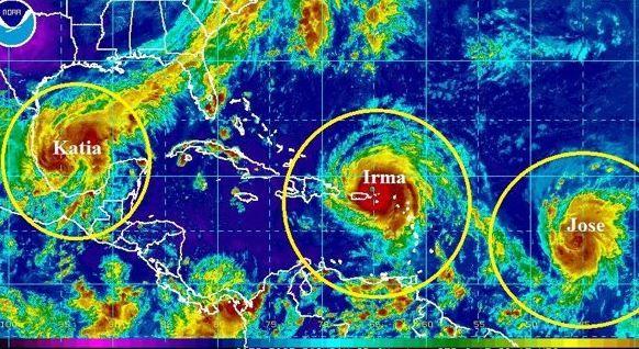 Les ouragans Katia, Irma et Jose
