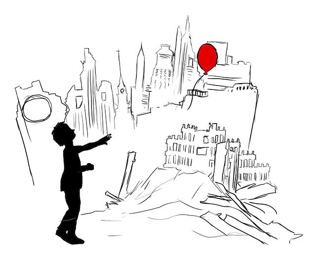 Ballon rouge sur une ville dévastée