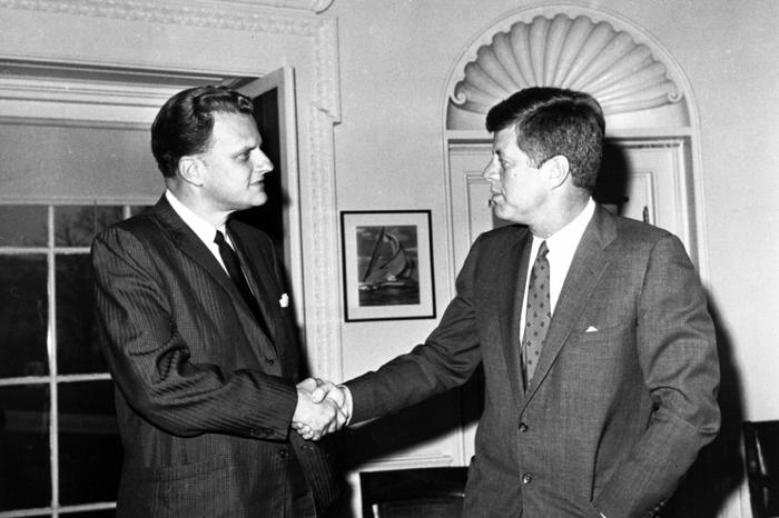 Billy Graham avec l'ancien président J.F. Kennedy