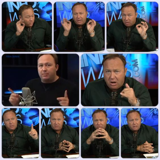 Gestuelle d'Alex Jones avec le double signal digital 666