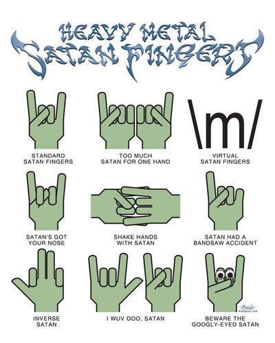 Doigts de Satan selon le code du Heavy Metal