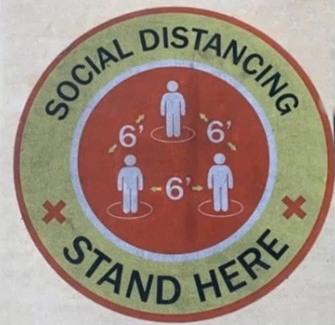 Distanciation sociale: 6 pieds
