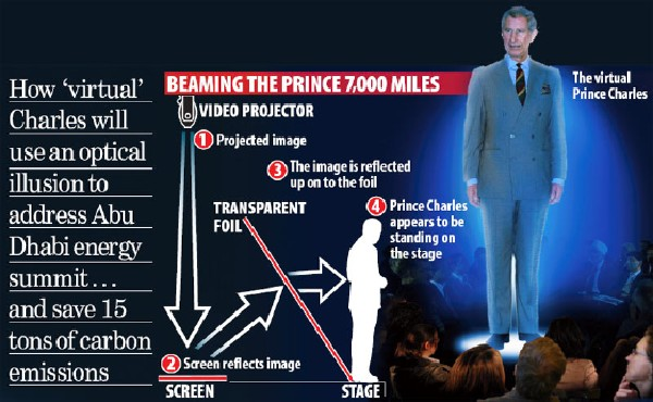 Projection hologramme du Prince Charles
