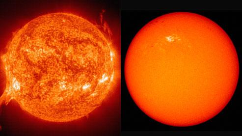 soleil en forte activité, à gauche  et le 11 janvier 2010 à droite
