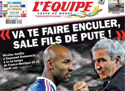 Couverture du journal l'Equipe du 19 Juin 2010