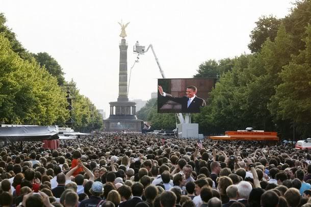 """B. Obama sur la Place de la Colonne de la """"Victoire"""" à Berlin"""