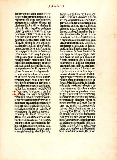 Reproduction d'une page de la Bible B42 de Gutenberg
