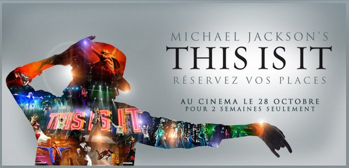 "- Affiche Française du film ""This is it"" Michael Jackson Octobre 2009 -"