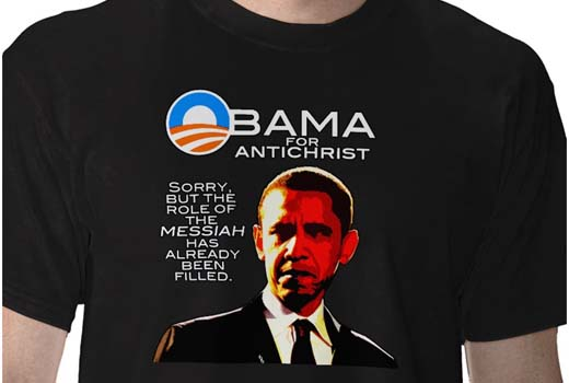 "— ""T-shirt"" ""Obama for antichrist"" (""Obama pour antichrist"") —"
