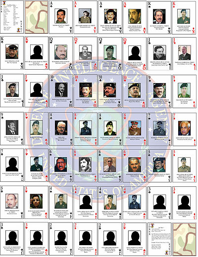 Jeu de cartes US Guerre Irak 2003