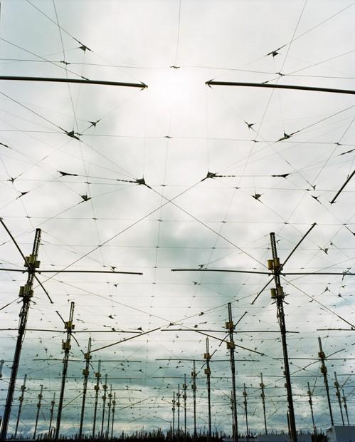 Réseau d'antennes sur le site H.A.A.R.P. près de Gakona, en Alaska